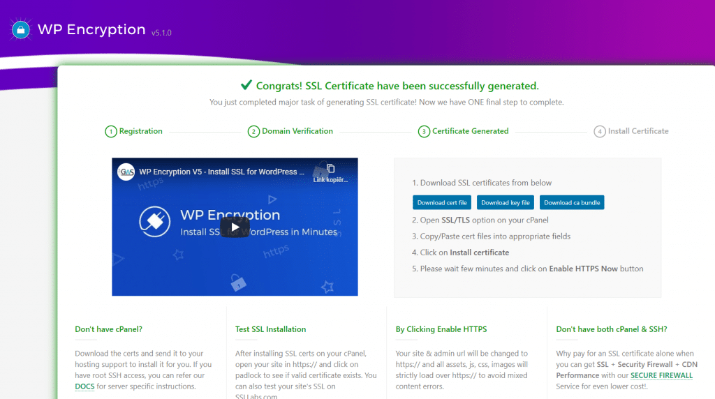 The confirmation dialog of the WP Encryption plugin
