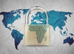 World map with a lock layed over it